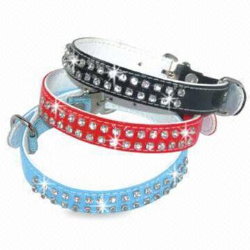 Diamond Collars with Bone Tag, Made of PU or Leather, Available in Red, Black and Pink