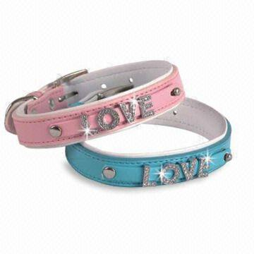 PU/Leather Dog Collars with Love Mark