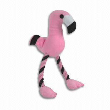 100% Polyester Flamingo Toy with Squeaker for Dog