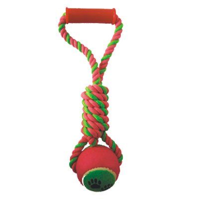 Dog rope toy with tennis