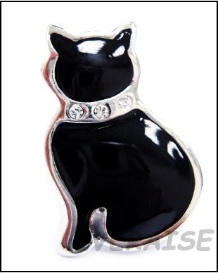 BLACK FATTY CATTY BROOCH PIN