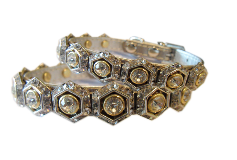 Dog collar with hexagon crystal