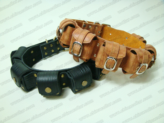 handmade real leather weighted dog collar