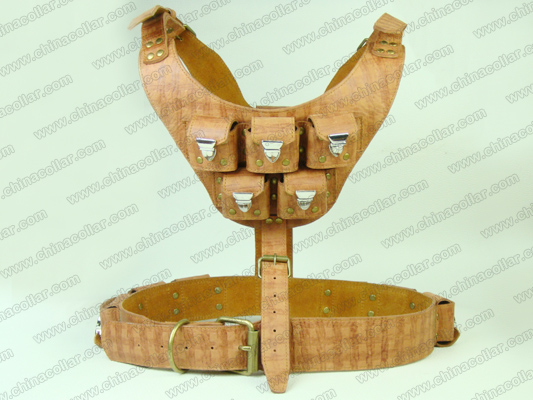 Top quality leather weighted dog harness for pitbull