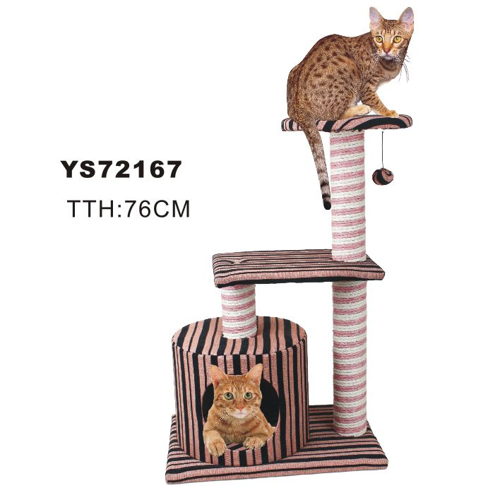 Thick stripe fabric cat trees(YS72167)