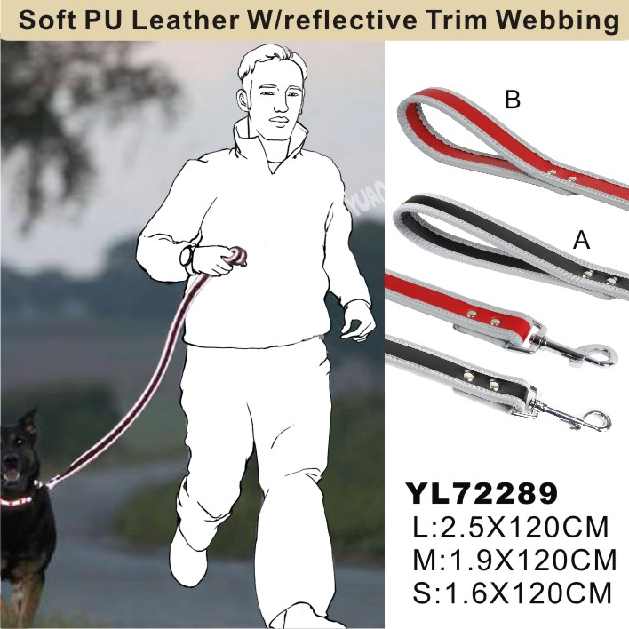 Soft PU leather w/reflective trim webbing(YL72289)
