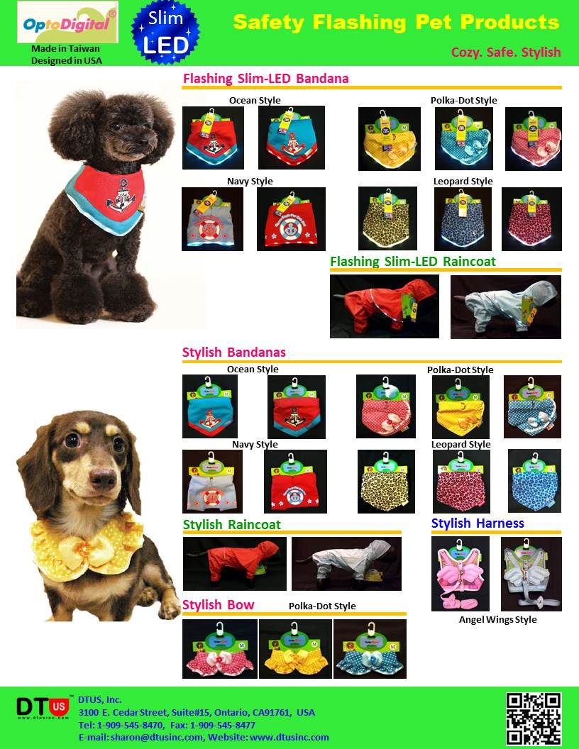LED Pet Bandannas & LED Pet Raincoat