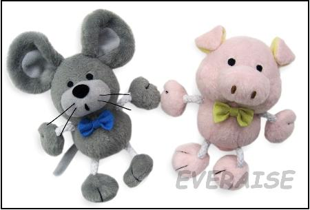 PLUSH RAT & PIG ROPE TOY