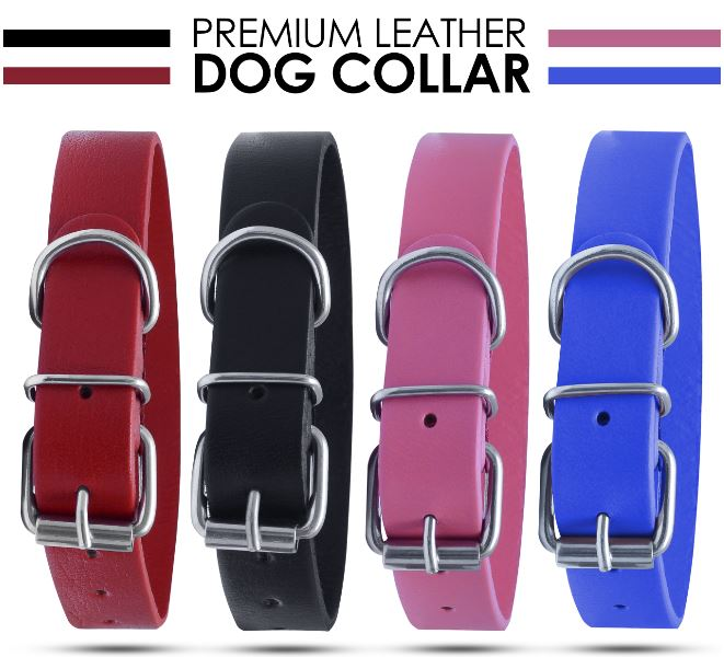 Strong Pure Leather Dog collar Pet Cat Puppy Blue Black Pink Red Four Size