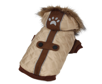 Premium Brand Padded Dog Coat Beige Brown