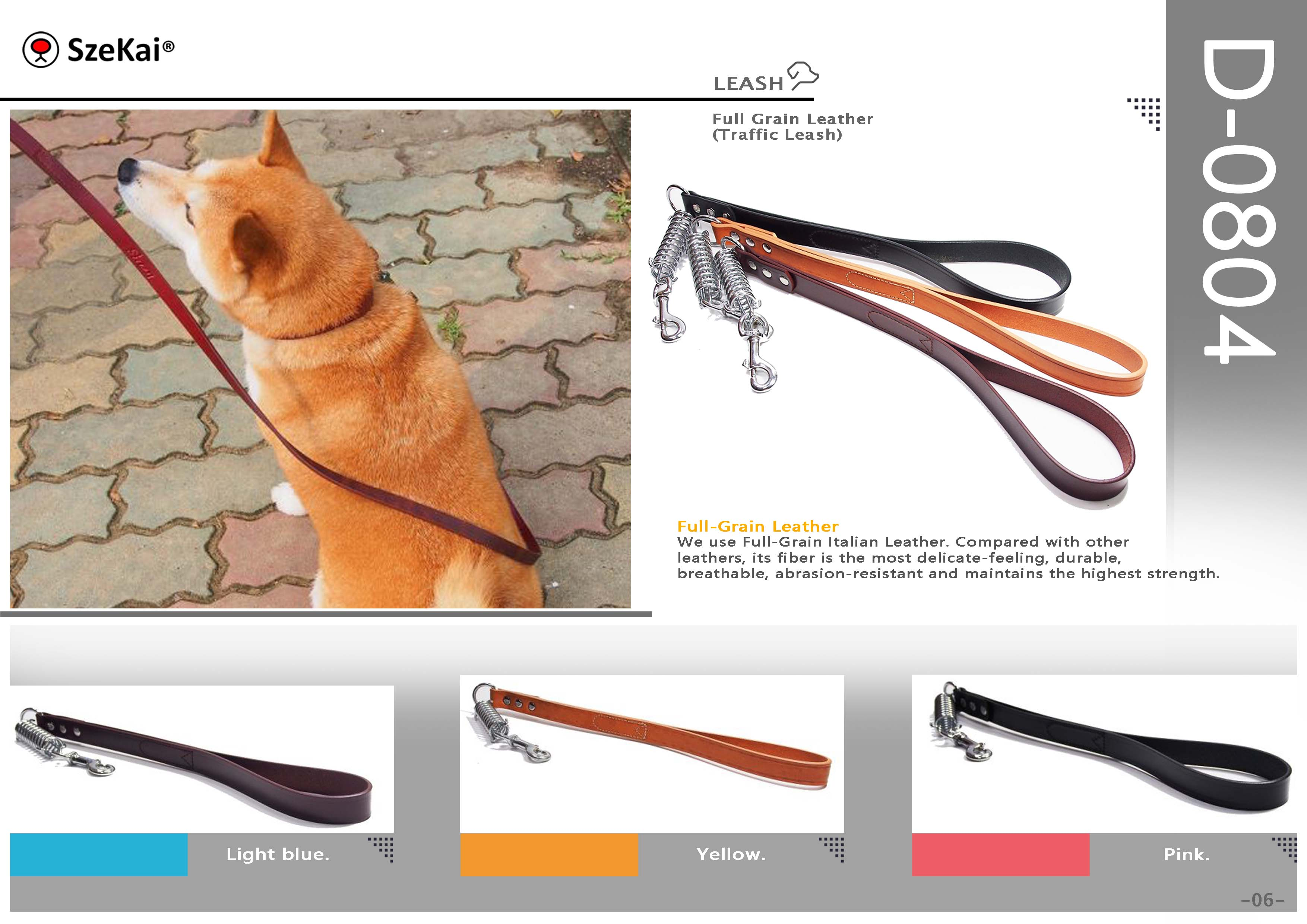 Full Grain Leather Traffic Leash
