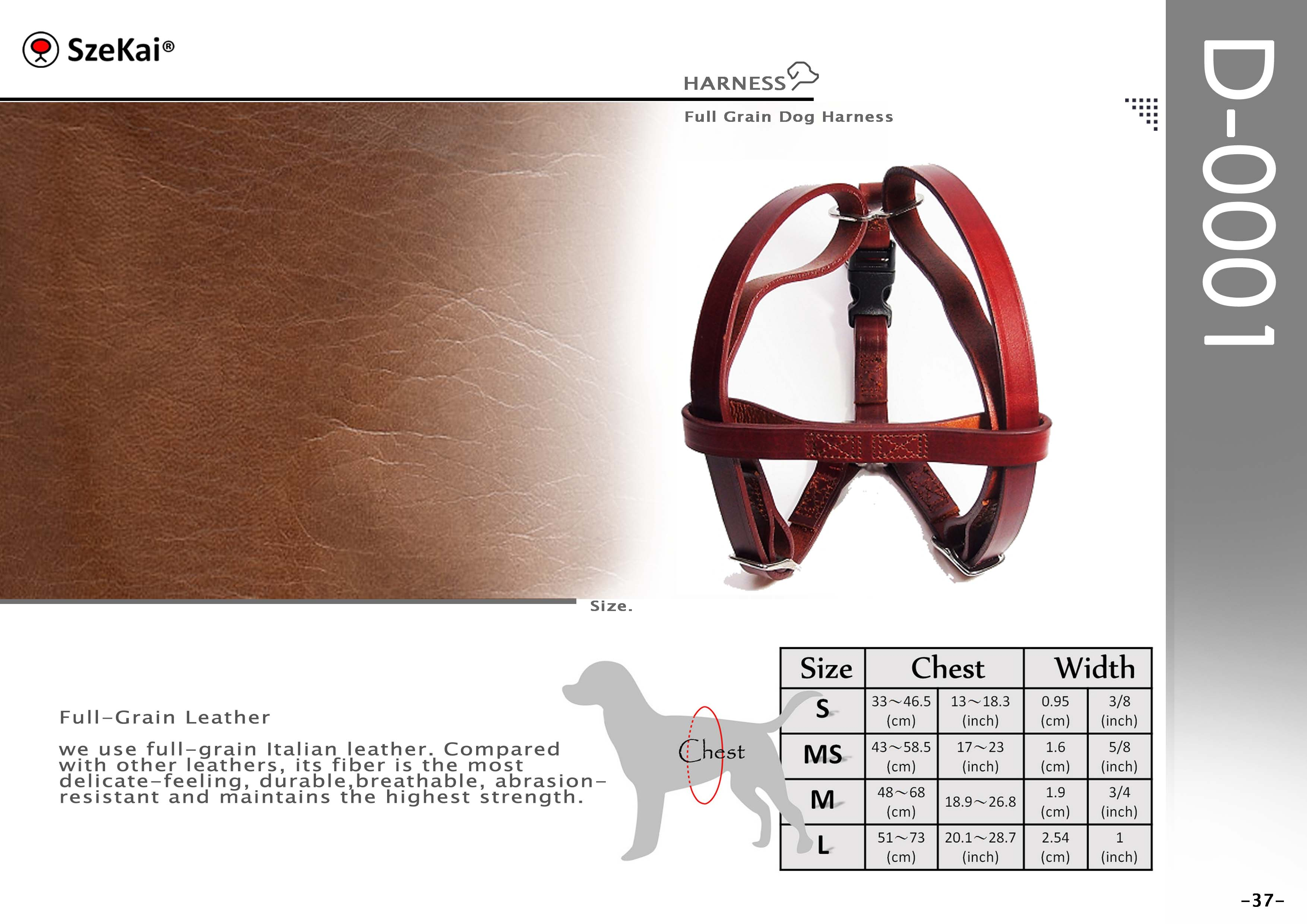 Full-Grain Leather Dog Harness