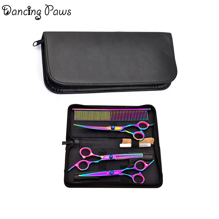 Factory manufacture various artificial leather cleaning bag dog grooming scissors shear kit case