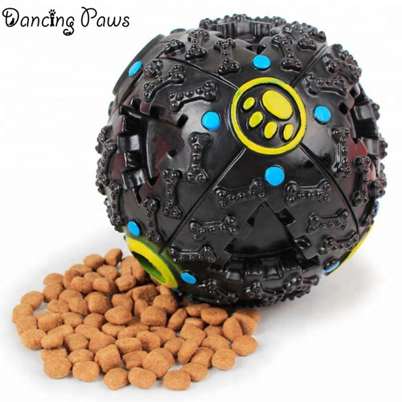 Hot sale rubber feeder interactive treat chew ball teeth cleaning pet dog toys