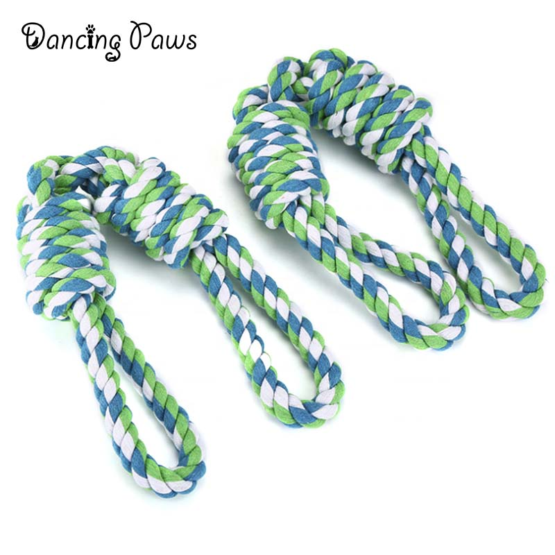 Wholesale stock large dog toy tug of war knot cotton rope toy double handle