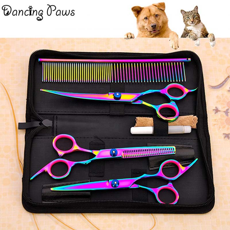 Multi colorful 6 inch stainless steel 17 cm dog grooming scissors/shears 4 pieces a set