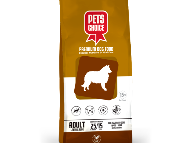 PETS CHOICE PREMIUM Adult Dog Food Lamb & Rice 15 Kg