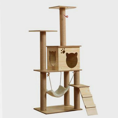 Wholesale Large Multi-layer Wooden Cat Tree Toy Cat Jumping Platform Cat tree Tower Cat scratchers