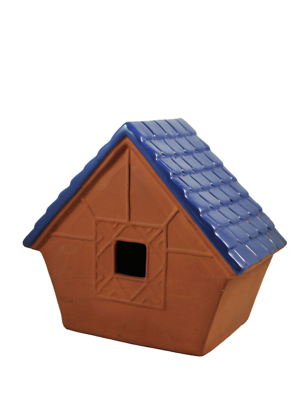 terracotta bird house with galzed roof