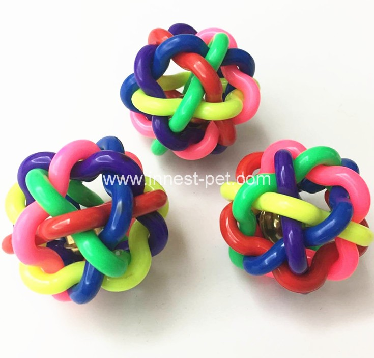 Pet toys colorful soft plastic rainbow dog toy ball