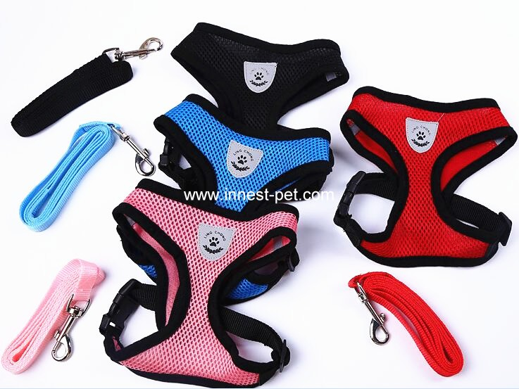 colorful mesh dog harness, pet harness with dog leash