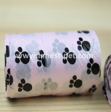 white dog poop bag with grey paw