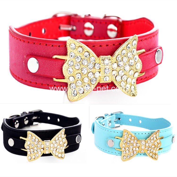Pet supply reshinestone pet dog collar with bowtie