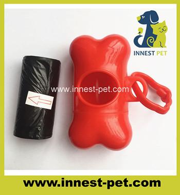 Pet supplies pe plastic dog waste poop bags with bone dispenser holder