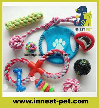 Factory direct muliti ranges firsbee plasic pet balls cotton rope dog toys
