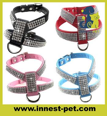 luxury reshinestone crystal dog walking safety pet protective harness