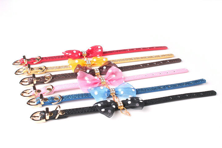 dog collar glitter material different color bow tie