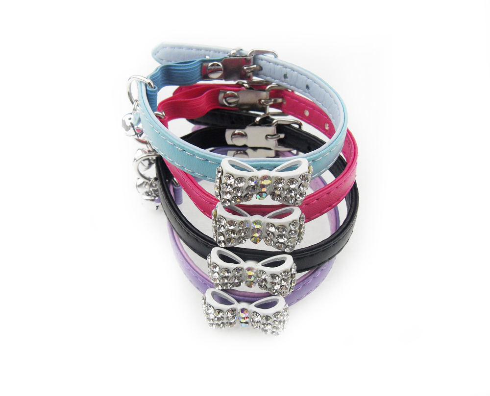 cat collar with crystal bow knot  bell