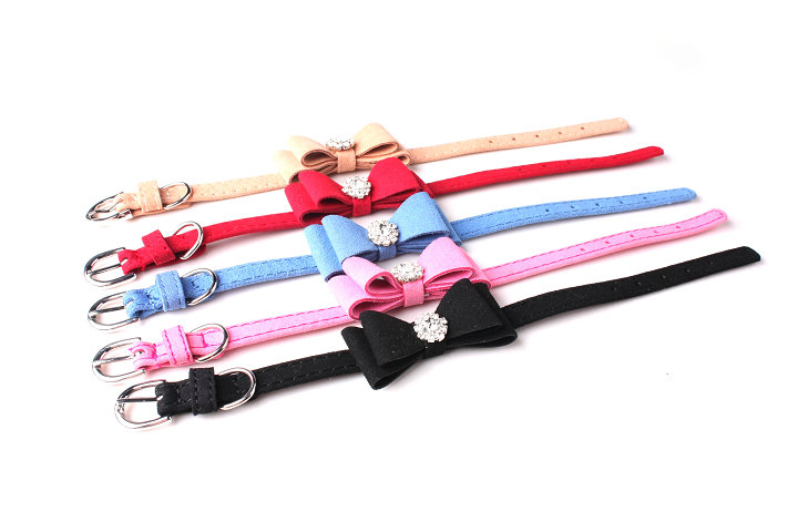 dog collar suede bow knot with crystal