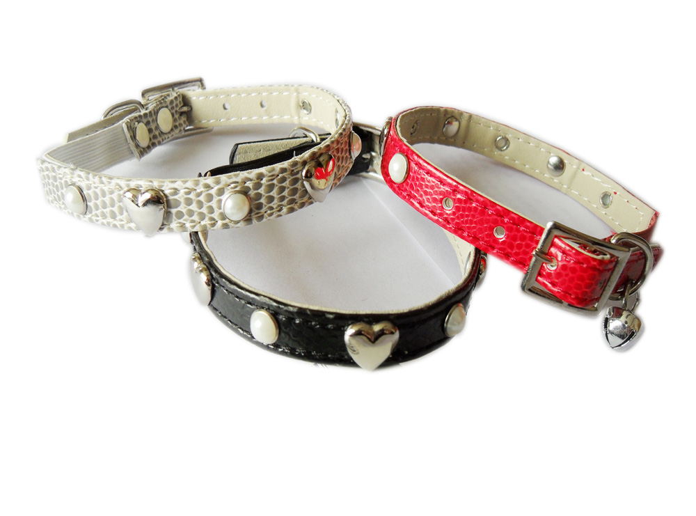 cat collar snake grain pu with jwele and heart shape ornament