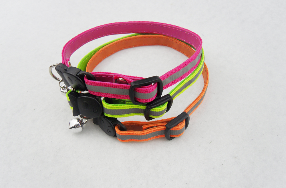 cat collar with reflective material and safety fish shape buckle