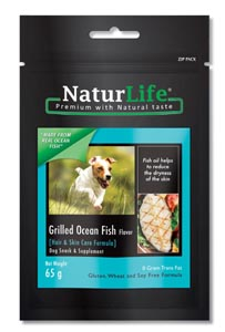 NaturLife Dog Snacks - Grilled Ocean Fish Flavour ( Hair & Skin formula)