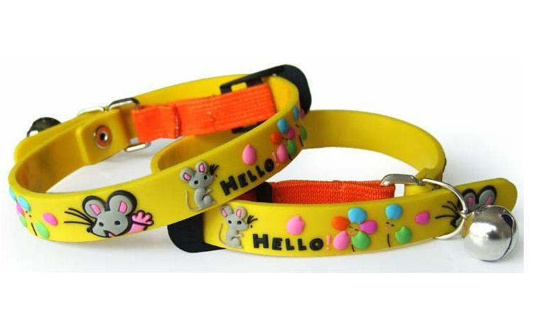 2D cat rubber collar -hello mouse